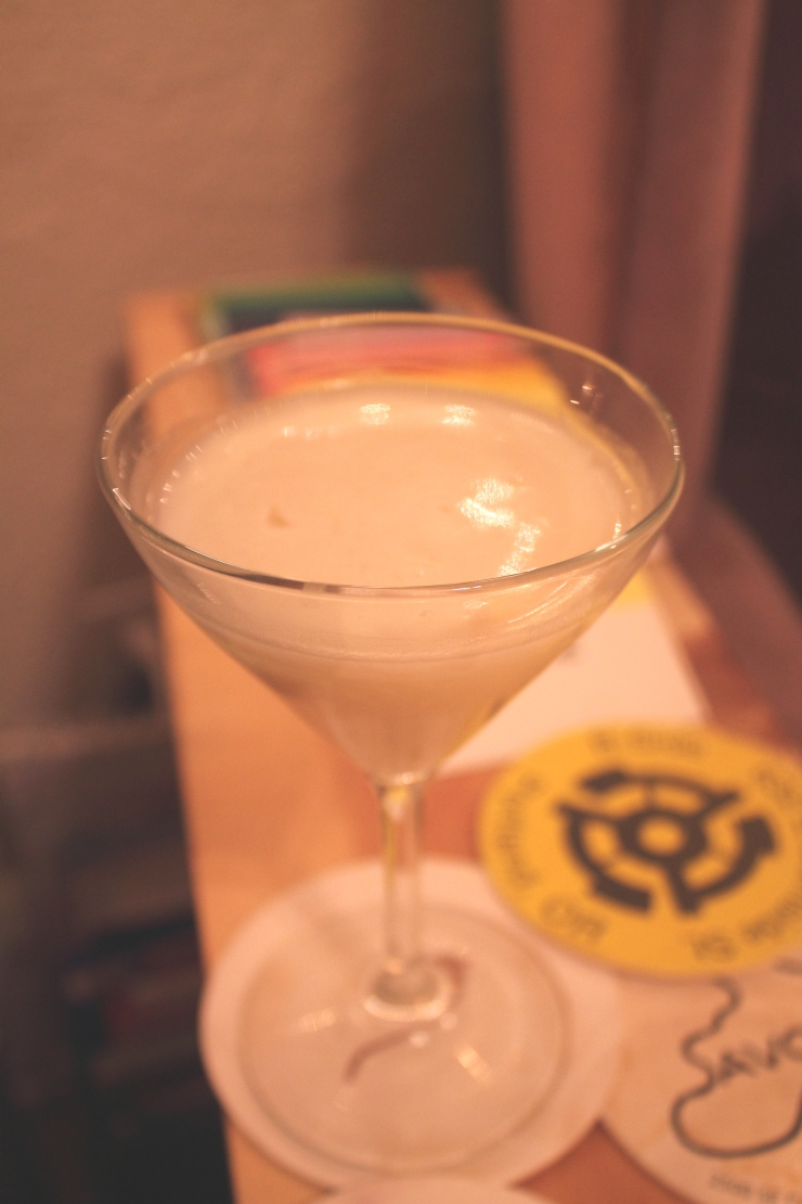 1 oz gin  .75 oz lillet blanc  .25 oz lemon juice  .75 oz vegan white chocolate syrup*  shake with ice, strain, serve