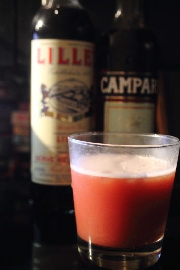 1.5 ounces of Lillet Rouge 1.5 ounces of Campari 4 ounces of orange juice, freshly squeezed is preferred Shake vigorously with ice, strain and serve in a chilled glass.