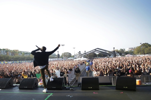 Vince Staples on fire // Photo by: Goldenvoice